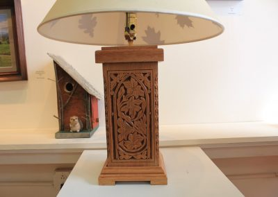 Carved lamp by NorthCountryARTS artist Dennis Wilson