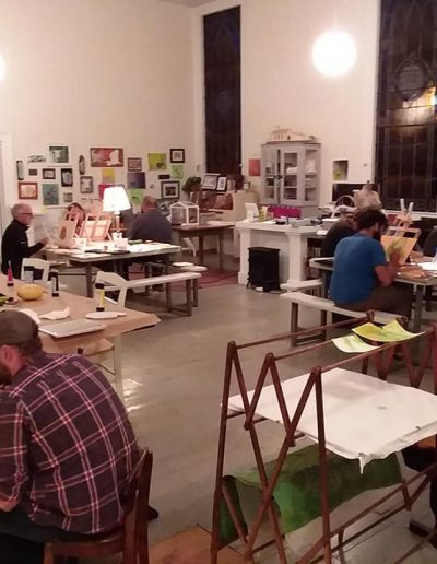Students making art in a studio