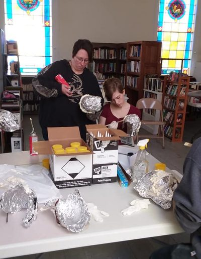 Students making art projects